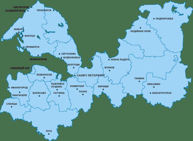 карта работы по Санкт-Петербургу и Области