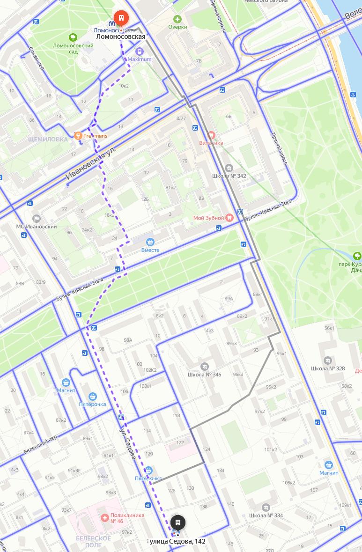 Как дойти от метро Ломоносовская